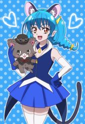 1girl, :3, :d, animal ears, black cape, black headwear, blue background, blue collar, blue gloves, blue hair, blue skirt, blue vest, blush, braid, cape, cat ears, cat girl, cat tail, collar, collared vest, commentary request, cowboy shot, detached collar, detached sleeves, evil smile, eyebrows visible through hair, gloves, goggles, goggles on headwear, hair between eyes, hand on hip, hat, heart, holding, holding stuffed toy, long hair, low-tied long hair, low twintails, mewkledreamy, namesake, onomekaman, open mouth, orange eyes, pleated skirt, pointy ears, polka dot, polka dot background, precure, red ribbon, ribbon, shadow, simple background, skirt, smile, star (symbol), star twinkle precure, stuffed animal, stuffed cat, stuffed toy, tail, thighhighs, torn cape, torn clothes, twin braids, twintails, vest, white collar, white legwear, white sleeves, yuni (mewkledreamy), yuni (precure), zettai ryouiki