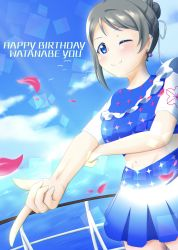 1girl, ;), absurdres, alternate hairstyle, aqua eyes, arm between breasts, artist name, artist request, birthday, blue choker, blue detached collar, blue eyes, blue shirt, blue skirt, blue sky, blush, breasts, brown hair, checkered, checkered shirt, checkered skirt, choker, cloud, day, dress, dress shirt, earrings, female focus, flower print, flower tattoo, grey hair, hair between eyes, hair bun, happy birthday, highres, jewelry, leg tattoo, let's go wonder trip, light brown hair, looking at viewer, love live!, love live! school idol festival, love live! sunshine!!, medium breasts, one eye closed, outdoors, pearl earrings, petals, pink petals, pointing, pointing at viewer, ribbon, shirt, short hair, skirt, sky, smile, smile smile ship start!!, solo, sparkle print, tattoo, watanabe you, white ribbon
