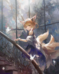 1girl, absurdres, animal ear fluff, animal ears, aqua hairband, arknights, blonde hair, blue hairband, bug, butterfly, close-up, commentary, daylightallure, earpiece, english commentary, fox ears, fox girl, fox tail, grey hairband, hair ears, hair rings, hairband, highres, insect, kitsune, kyuubi, looking at viewer, multiple tails, oripathy lesion (arknights), stairs, stone stairs, suzuran (arknights), tail, window