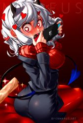 1girl, absurdres, artist name, ass, bangs, bed, black horns, black miniskirt, black suit, black tail, blush, breasts, commentary, covering mouth, demon girl, demon horns, demon tail, embarrassed, enmanuelart20, eyebrows visible through hair, from behind, full-face blush, game console, hair between eyes, handheld game console, hands up, heart, heart-shaped pupils, helltaker, highres, holding, holding handheld game console, horns, joy-con, large breasts, long sleeves, looking back, looking down, miniskirt, modeus (helltaker), nintendo switch, on bed, pantyhose, red eyes, red legwear, red sweater, ribbed sweater, shirt, short hair, sidelocks, sitting, sitting on bed, solo, sweater, symbol-shaped pupils, tail, turtleneck, white hair