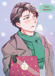 1boy, andrew hanbridge, artist name, black gloves, blush, breath, brown hair, coat, dated, english text, flying sweatdrops, fringe trim, frown, gift, giving, gloves, green eyes, green scarf, grey coat, half-closed eyes, happy valentine, highres, holding, holding gift, little witch academia, looking away, male focus, marii pily, open mouth, scarf, short hair, solo, standing, trench coat, valentine