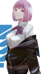 1girl, bangs, black legwear, blazpu, blunt bangs, bow, breasts, collared shirt, commentary, cowboy shot, english commentary, highres, jacket, large breasts, long sleeves, looking at viewer, looking to the side, off shoulder, purple bow, purple jacket, purple neckwear, red eyes, shinjou akane, shiny, shiny hair, shirt, short hair, simple background, smile, smirk, solo, ssss.gridman, white background, white shirt