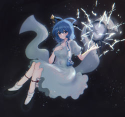 1girl, absurdres, bangs, black footwear, blue dress, blue eyes, blue hair, blue nails, blurry, blurry background, bobby socks, bokeh, breasts, closed mouth, commentary request, dark background, depth of field, dress, electricity, energy ball, eyebrows visible through hair, fetus, floating, full body, hagoromo, hair between eyes, hair ornament, hair rings, hair stick, hand on own chest, highres, huge filesize, kaku seiga, leg ribbon, light blush, light particles, light smile, looking at viewer, medium breasts, medium hair, nail polish, ofuda, open clothes, open vest, pipita, ribbon, shawl, simple background, socks, solo, touhou, vest, white vest