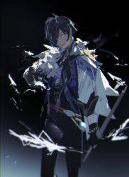 1boy, black gloves, black pants, blue eyes, blue hair, dark background, eyepatch, feather boa, genshin impact, gloves, highres, holding, holding sword, holding weapon, kaeya (genshin impact), kuronoiparoma, looking at viewer, open mouth, pants, solo, sword, weapon