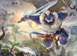 1boy, abs, animal ears, bara, bare pecs, beard, blue fur, borrowed character, commission, crrispy shark, facial hair, fighting stance, flower, full body, furry, harness, highres, holding, holding sword, holding weapon, large pectorals, looking at viewer, male focus, mature male, motion blur, muscular, muscular male, nipples, original, pelvic curtain, petals, plant, short hair, sky, solo, stomach, sword, tail, thick thighs, thighs, tiger boy, tiger ears, tiger tail, tree, two-tone fur, weapon, white fur, white hair, wind