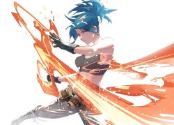 1girl, bangs, belt, black gloves, black pants, blue eyes, blue hair, boots, clenched hand, closed mouth, combat boots, earrings, ffffcoffee, full body, gas can, gloves, jewelry, leona heidern, looking at viewer, military, military uniform, pants, ponytail, slashing, solo, tank top, the king of fighters, the king of fighters xiii, uniform, white background