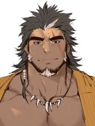 1boy, bara, beard, black hair, character request, check copyright, copyright request, dark skin, dark skinned male, facial hair, gomtang, large pectorals, male cleavage, male focus, mature male, multicolored hair, muscular, muscular male, original, portrait, scar, scar across eye, short hair, smile, solo, streaked hair, thick eyebrows, tooth necklace, two-tone hair, white hair