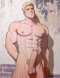 Rule 34 | 1boy, abs, alternate pectoral size, bara, blonde hair, blue eyes, boruto: naruto next generations, completely nude, cowboy shot, erection, head tilt, highres, hydaria, large pectorals, male focus, male pubic hair, mature male, muscular, muscular male, naruto (series), navel, nipples, nude, older, penis, pubic hair, reward available, short hair, sideburns, smile, solo, stomach, thick thighs, thighs, uncensored, uzumaki naruto, whisker markings