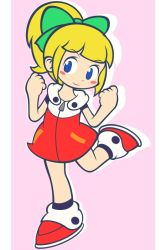 1girl, bangs, black legwear, blonde hair, blue eyes, blunt bangs, blush, blush stickers, border, bow, chibi, clenched hand, clenched hands, closed mouth, commentary request, dress, eyebrows visible through hair, full body, green bow, hair bow, high ponytail, hooded dress, leg up, long hair, looking at viewer, pink background, ponytail, red dress, red footwear, mega man (series), mega man (classic), mega man 11, roll (mega man), sashisaki ryuunoshin, shadow, shoe, shoes, short sleeves, sidelocks, smile, socks, solo, standing, standing on one leg, white border, zipper