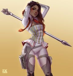 1girl, apex legends, artist name, boots, braid, breasts, brown hair, cleavage, corset, cropped jacket, dark skin, dark skinned female, eyeshadow, gradient, gradient background, gradient hair, hand on head, highres, jacket, large breasts, loba (apex legends), makeup, multicolored hair, open mouth, orange hair, pants, red eyeshadow, rene carano, solo, staff, thigh boots, thighhighs, twin braids, weapon, weapon on back, white jacket, white pants
