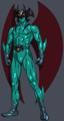 1boy, abs, belt, clenched hands, closed mouth, colored sclera, devilman, devilman (character), frown, gloves, grey background, grey belt, grey footwear, grey gloves, head wings, male focus, munya (otikamohe), muscular, muscular male, red eyes, shiny, simple background, solo, wings, yellow sclera