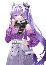 1girl, absurdres, bag, bangs, black scarf, blush, breasts, buttons, detached sleeves, double bun, genshin impact, grey skirt, highres, hya ro, keqing (genshin impact), long hair, long shirt, looking at viewer, medium breasts, plaid, plaid scarf, purple eyes, purple hair, purple sweater, scarf, shoulder bag, skirt, sleeveless sweater, sweater, swept bangs, twintails