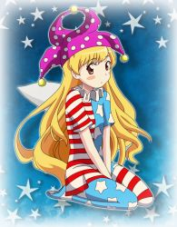 bell, blonde hair, blue background, blue dress, blush, brown eyes, clownpiece, curious, dots, dress, fairy wings, hat, highres, kneeling, long hair, red stripes, remyfive, sitting, sky, star (sky), star (symbol), starry sky, surprised, touhou, wavy hair, white stripes, wings