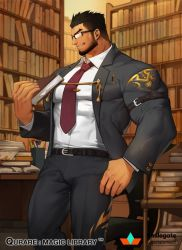 1boy, bara, beard, belt, black belt, black hair, bookshelf, bulge, character request, covered abs, facial hair, feet out of frame, formal, glasses, gomtang, grey suit, holding, large pectorals, library, male cleavage, male focus, mature male, muscular, muscular male, necktie, official art, qurare magic library, shirt, short hair, solo, white shirt