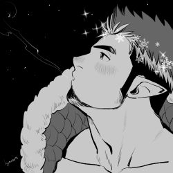 1boy, bara, blowing, blush, collarbone, facial hair, fur-trimmed jacket, fur trim, goatee, greyscale, jacket, kyouta 22, long sideburns, male cleavage, male focus, mature male, monochrome, multicolored hair, muscular, muscular male, nose blush, pointy ears, portrait, short hair, sideburns, sky, snowflakes, solo, sparkling eyes, star (sky), starry sky, tokyo houkago summoners, tomte (tokyo houkago summoners), two-tone hair