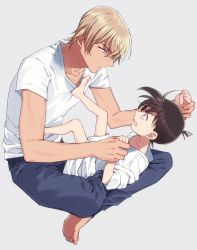 2boys, amuro tooru, angry, bangs, barefoot, blonde hair, blue pants, brown hair, casual, child, clenched teeth, collarbone, commentary request, edogawa conan, eye contact, feet, full body, grey background, hair between eyes, height difference, indian style, k (gear labo), kicking, legs up, looking at another, looking down, looking to the side, looking up, lying, male focus, meitantei conan, multiple boys, no eyewear, on back, on lap, pants, shirt, short hair, short sleeves, simple background, sitting, teeth, toes, white shirt, wrist grab