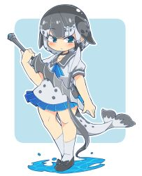 1girl, :/, ascot, bangs, black bow, black choker, black footwear, blue background, blue eyes, blue neckwear, blue skirt, blush, bow, breasts, caustics, choker, closed mouth, collarbone, contrapposto, dolphin tail, drillhorn sword, eyebrows visible through hair, footwear bow, full body, grey shirt, hair bow, highres, holding, holding sword, holding weapon, ini (inunabe00), kemono friends, long hair, looking at viewer, narwhal (kemono friends), outline, pleated skirt, puffy short sleeves, puffy sleeves, sailor collar, shirt, short sleeves, simple background, skirt, small breasts, solo, standing, sword, thighs, very long hair, water, weapon, white background, white legwear, white outline