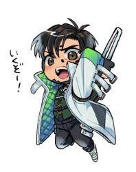 1boy, airborne, apex legends, black gloves, black hair, black pants, brown eyes, chibi, crypto (apex legends), gloves, green sleeves, green vest, highres, holding, holding weapon, husagin, jacket, looking down, male focus, open mouth, pants, solo, vest, weapon, white background, white jacket