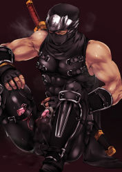 Rule 34 | 1boy, arm guards, bare arms, bare shoulders, black bodysuit, black gloves, black scarf, bodysuit, breath, bulge, clothed masturbation, covered abs, cum, cum string, dripping, egg vibrator, erection, erection under clothes, eyes closed, fingerless gloves, gloves, hand on own knee, hatonasi, highres, katana, knees up, male focus, male masturbation, masturbation, muscular, ninja, ninja gaiden, ninja mask, pectorals, ryu hayabusa, scarf, sex toy, sheath, sheathed, shin guards, sitting, solo, sweat, sword, thigh strap, vibrator, vibrator in thigh strap, vibrator on penis, vibrator over clothes, weapon