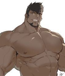 1boy, abs, antonio (gyee), bara, earrings, facial hair, goatee, gomtang, grey hair, gyee, jewelry, large pectorals, male focus, mature male, muscular, muscular male, nipples, nude, short hair, sideburns, smile, solo, spiked hair, stomach, upper body, veins, white background