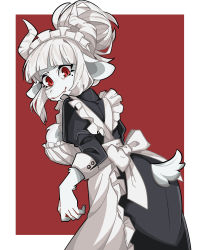 1girl, alternate costume, alternate form, apron, ass, black dress, breasts, dress, enmaided, frilled apron, frills, furry, goat girl, goat tail, helltaker, highres, horns, juliet sleeves, large breasts, long sleeves, lucifer (helltaker), maid, maid apron, maid headdress, mole, mole under eye, puffy sleeves, red eyes, solo, user shzv3744, white apron, white hair, white horns