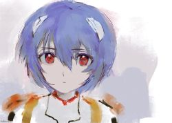 1girl, ayanami rei, blue hair, bob cut, bodysuit, closed mouth, covered collarbone, expressionless, hair between eyes, hair ornament, highres, interface headset, looking at viewer, neon genesis evangelion, plugsuit, red eyes, red pupils, short hair, simple background, solo, tabmur, white background