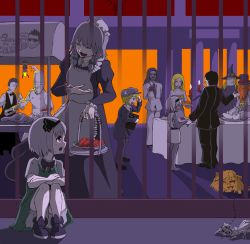 4girls, 6+boys, ^^^, alice margatroid, androgynous, ant, asatsuki (cookie), atouda ako (character), bald, bangs, barefoot, basket, black bow, black dress, black hairband, black headwear, black jacket, black neckwear, black pants, black ribbon, black vest, blonde hair, blouse, bow, braid, bug, cabbie hat, candle, chef hat, chef uniform, closed mouth, collared blouse, commentary request, cookie (touhou), double-breasted, dress, eating, eska (cookie), extra arms, eyebrows visible through hair, eyes closed, fence, fidget spinner, fire, flower, fork, formal, full body, genpatsu (cookie), green bow, green skirt, green vest, grey hair, hair between eyes, hairband, hat, hazuna rio, highres, hisaka (cookie), holding, holding basket, holding plate, ichigo (cookie), insect, izayoi sakuya, jacket, jyu (cookie), kansai claimer (inmu), kirisame marisa, konpaku youmu, lazy eye, long hair, looking at another, looking back, looking to the side, maid, manatsu no yo no inmu, medium hair, miura meat, multiple boys, multiple girls, nakano (inmu), necktie, night, open mouth, orange hair, outdoors, pants, plate, purple eyes, red flower, rei (cookie), remilia scarlet, ribbon, rose, sarashi, short hair, sitting, skirt, sleeveless, sleeveless dress, smile, standing, suit, table, tongs, touhou, tsuno (nicoseiga11206720), twin braids, very short hair, vest, white blouse, white jacket, white sleeves, witch hat, yellow eyes