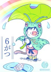 2boys, :o, ankle boots, antennae, belt, black belt, black eyes, black hair, black wristband, boots, captain ginyu, child, clenched hands, coat, different reflection, dougi, dragon ball, dragon ball (classic), dragonball z, frog raincoat, full body, green coat, highres, holding, holding leaf, leaf, leaf umbrella, male focus, multiple boys, norita (6110885), open mouth, pale color, puddle, rainbow, raincoat, red eyes, reflection, ripples, scouter, simple background, slit pupils, son gokuu, standing, twitter username, water, water drop, white background, wristband, yellow footwear