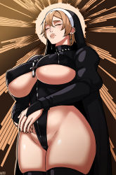 1girl, 2021, absurdres, alecto 0, blonde hair, breasts, cameltoe, cowboy shot, cross, cross necklace, double (skullgirls), earrings, eyes closed, from below, highres, jewelry, large breasts, lips, necklace, nun, ring, skullgirls, solo, thighhighs, underboob