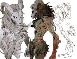 2boys, annoyed, apex legends, artist name, black hair, character name, claws, crossed arms, goat horns, goggles, horns, humanoid robot, iwamoto zerogo, long hair, looking down, looking up, multiple boys, multiple views, octane (apex legends), open hand, radio antenna, revenant (apex legends), robot, science fiction, white background, white eyes