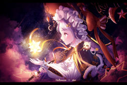 1girl, absurdres, animal, animal on shoulder, black capelet, bow, braid, capelet, cat, cat on shoulder, cloud, eumi 114, from side, hair bow, hair ornament, halloween, hat, hat bow, highres, holding, holding staff, letterboxed, light purple hair, long sleeves, nail polish, night, night sky, original, parted lips, profile, red bow, red eyes, red nails, shirt, sky, solo, staff, star (sky), star (symbol), star hair ornament, starry sky, twin braids, white shirt, witch, witch hat