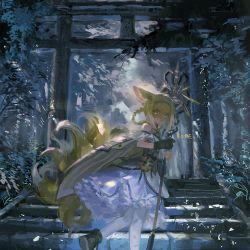 1girl, animal ears, arknights, blonde hair, braid, fox ears, fox girl, fox tail, frilled skirt, frills, frischenq, headband, holding, holding staff, looking back, plant, skirt, solo, staff, stairs, suzuran (arknights), tail, torii