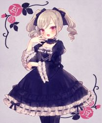1girl, :d, bangs, black bow, black choker, black dress, black legwear, blush, bow, choker, collarbone, cowboy shot, curly hair, dot nose, dress, elbow rest, eyes visible through hair, flower, framed, frilled choker, frilled dress, frilled sleeves, frills, from side, gothic lolita, grey background, grey nails, hair bow, hands up, idolmaster, idolmaster cinderella girls, kanzaki ranko, lace trim, lolita fashion, long hair, long sleeves, looking at viewer, looking to the side, medium dress, muted color, nail polish, open hand, open mouth, outline, pink eyes, pink flower, pink rose, pose, puffy long sleeves, puffy sleeves, ribbon-trimmed dress, ribbon-trimmed sleeves, ribbon trim, rose, sidelocks, silver hair, simple background, smile, solo, standing, swept bangs, twintails, v-shaped eyebrows, white outline, wide sleeves, yujup