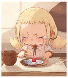 1girl, :<, blonde hair, blush, border, brown neckwear, brown ribbon, cake, child, commentary request, couch, crying, cup, eyes closed, food, fork, fruit, holding, holding fork, hood, hoodie, indoors, low twintails, mat, medium hair, original, parted lips, pillow, pink hoodie, ribbon, shirt, short bangs, sidelocks, sleeves past elbows, solo, steam, strawberry, streaming tears, table, tears, twintails, v-shaped eyebrows, white border, yu kozato