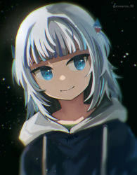 1girl, anonamos, artist name, bangs, blue eyes, blue hoodie, blunt bangs, blurry, chromatic aberration, closed mouth, dark background, depth of field, drawstring, eyebrows behind hair, face, fish bone, gawr gura, hair ornament, highres, hololive, hololive english, hood, hoodie, light particles, looking to the side, medium hair, multicolored hair, shark hair ornament, silver hair, simple background, smile, solo, streaked hair, two side up, upper body, virtual youtuber