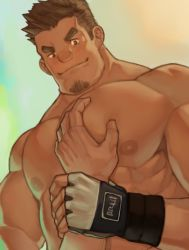Rule 34 | 2boys, bara, blush, brown hair, close-up, facial hair, goatee, guided pectoral grab, large pectorals, male focus, mature male, multiple boys, muscular, muscular male, nipples, nude, original, pectoral focus, pectorals, pov, ryker, short hair, sideburns, smile, smug, solo focus, stubble, thick eyebrows, upper body, yaoi