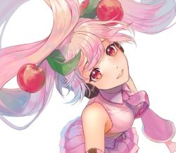 1girl, arms at sides, bare shoulders, breasts, cherry hair ornament, collared shirt, cyan916, detached sleeves, dutch angle, eyelashes, floating hair, food themed hair ornament, from above, hair between eyes, hair ornament, happy, hatsune miku, headphones, light smile, lips, long hair, looking at viewer, looking up, medium breasts, necktie, parted lips, pink eyes, pink hair, pink neckwear, pink shirt, pink skirt, pleated skirt, sakura miku, shiny, shiny hair, shirt, simple background, skirt, sleeveless, sleeveless shirt, solo, tareme, teeth, twintails, upper body, very long hair, vocaloid, white background