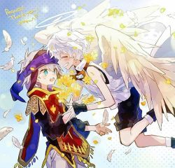 2boys, angel, angel wings, aqua eyes, bangs, black shirt, blush, character request, eyebrows visible through hair, eyes closed, feathered wings, feathers, flower, goggles, goggles around neck, hat, hero (merc storia), hibi89, lens flare, long sleeves, merc storia, multiple boys, open mouth, petals, polka dot, polka dot background, shirt, short hair, short sleeves, shorts, silver hair, smile, sweatdrop, white shirt, white wings, wings, wrist guards