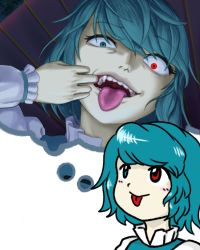 1girl, :p, bangs, blue eyes, blue hair, blue vest, blush, blush stickers, closed mouth, commentary, constricted pupils, eyebrows visible through hair, fangs, frilled shirt, frills, glowing, glowing eye, heterochromia, imagining, juliet sleeves, karakasa obake, long sleeves, looking at viewer, mouth pull, open mouth, parasite oyatsu, parody, puffy sleeves, red eyes, shirt, short hair, simple background, style parody, tatara kogasa, teeth, thought bubble, tongue, tongue out, touhou, umbrella, upper body, vest, white background, white shirt, zun (style)