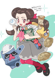 + +, 1girl, :d, blush, book, brown hair, commentary request, creatures (company), dated, devanohundosi, dress, fossil, game freak, gen 3 pokemon, gen 4 pokemon, grey dress, gym leader, hatted pokemon, heavy ball, holding, holding book, holding magnifying glass, long hair, nintendo, nosepass, open mouth, outline, pantyhose, paper, parchment, poke ball, pokemon, pokemon (creature), pokemon (game), pokemon oras, probopass, roxanne (pokemon), shoes, short sleeves, smile, sparkle, timer ball, tongue, translation request, twintails