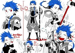 1boy, 1other, animal, asymmetrical bangs, asymmetrical clothes, bangs, belt, blood, blood splatter, blue hair, bodysuit under clothes, bracelet, braid, braided ponytail, capelet, censored, chibi, child, closed mouth, cu chulainn (fate) (all), dog, earrings, face licking, fang, fate/grand order, fate/grand order arcade, fate (series), floating hair, full body, gae bolg (fate), grin, height, high collar, holding, holding staff, jewelry, kystktstura, leg warmers, licking, long hair, male focus, mosaic censoring, multiple views, one eye closed, open mouth, ponytail, puffy pants, puppy, red eyes, sandals, setanta (fate), smile, sparkle, spiked hair, staff, standing, tail, tail wagging, toeless footwear