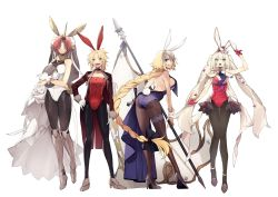 4girls, animal ears, back, backless leotard, bare shoulders, blonde hair, blue eyes, breasts, bunny ears, bunny tail, choker, eyebrows visible through hair, fate/grand order, fate (series), frankenstein's monster (fate), full body, gloves, green eyes, hair over eyes, hand on hip, high heels, highres, holding, holding tray, horns, jacket, jeanne d'arc (fate), jeanne d'arc (fate) (all), large breasts, leotard, long hair, long sleeves, looking at viewer, marie antoinette (fate), mordred (fate), mordred (fate) (all), multiple girls, no-kan, pantyhose, pink hair, playboy bunny, purple eyes, simple background, single horn, sleeveless, standing, strapless, strapless leotard, tail, teeth, thigh strap, tongue, tray, twintails, very long hair, white background
