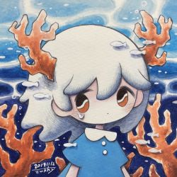 1girl, blue dress, bubble, coral, dated, dress, fish, highres, looking at viewer, medium hair, no nose, orange eyes, original, shadow, short sleeves, signature, solo, tears, white hair, zukky000