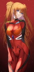 1girl, absurdres, ame 816, arm behind back, bangs, blue eyes, bodysuit, breasts, brown hair, commentary request, covered navel, cowboy shot, eyebrows visible through hair, gradient, gradient background, hair ornament, hand on own thigh, highres, leaning forward, light particles, long hair, looking at viewer, neon genesis evangelion, orange hair, plugsuit, red bodysuit, red theme, solo, soryu asuka langley, standing, twintails, two side up, very long hair