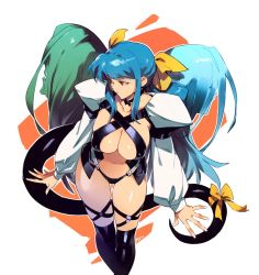 1girl, artist name, asymmetrical wings, black legwear, blue hair, breasts, center opening, closed mouth, dizzy (guilty gear), guilty gear, hair ribbon, highres, large breasts, long hair, long sleeves, looking to the side, navel, necro (guilty gear), optionaltypo, red eyes, ribbon, standing, tail, tail ornament, tail ribbon, thighhighs, underboob, undine (guilty gear), white background, wings, yellow ribbon