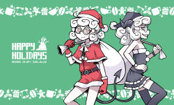 2girls, artist name, bare shoulders, black headwear, black horns, black legwear, black santa costume, black skirt, capelet, clenched hands, clenched teeth, commentary request, cowboy shot, curly hair, dated, demon girl, demon tail, dual persona, english text, from side, fur-trimmed capelet, fur-trimmed gloves, fur trim, glasses, gloves, green background, grin, half-closed eyes, hat, helltaker, highres, horns, looking at viewer, multiple girls, pandemonica (helltaker), red capelet, red eyes, red headwear, red skirt, sack, santa costume, santa hat, short hair, simple background, skirt, smile, solidus (sword cube), standing, strapless, tail, teeth, thighhighs, tubetop, white hair, wristband