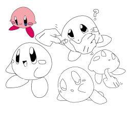 :i, ?, arm up, blue eyes, blush, blush stickers, disembodied limb, full body, hand on another's face, happy, kirby, kirby (series), looking up, lying, motion lines, multiple views, nintendo, no humans, on side, open mouth, partially colored, poking, sketch, smile, sp (sweet potato), standing, uneven eyes