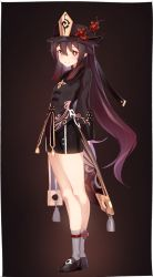 1girl, absurdres, arms behind back, bangs, black coat, black headwear, black shorts, blush, breasts, brown hair, coat, coattails, flower, full body, genshin impact, ghost, hat, hat flower, highres, hu tao, jewelry, kei (soundcross), long hair, long sleeves, looking at viewer, medium breasts, open mouth, plum blossoms, polearm, red eyes, ring, shorts, smile, symbol-shaped pupils, thighs, twintails, very long hair, weapon