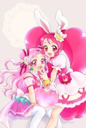2girls, :d, aizen (syoshiyuki), animal ears, bunny ears, cake hair ornament, commentary request, cure whip, cure yell, dress, earrings, extra ears, eyelashes, flower, food, food themed clothes, food themed hair ornament, gloves, hair cones, hair flower, hair ornament, hair ribbon, happy, heart, highres, hugtto! precure, jewelry, kirakira precure a la mode, long hair, looking at viewer, magical girl, multiple girls, nono hana, open mouth, petticoat, pink dress, pink eyes, pink hair, pink shirt, pink skirt, pom pom (clothes), pom pom earrings, precure, puffy sleeves, ribbon, shirt, sitting, skirt, smile, thighhighs, thighs, usami ichika, v