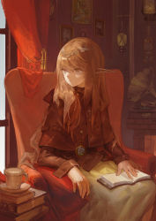 1girl, book, book on lap, book stack, brown eyes, brown hair, circlet, couch, cup, curtains, elf, fantasy, fe-cr7777, feet out of frame, gears, highres, indoors, lantern, long hair, looking to the side, open book, original, phonograph, picture (object), picture frame, pocket watch, pointy ears, sitting, solo, watch, window
